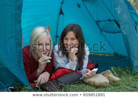 Két nő táborhely fogmosás erdő Európa mosolyog Stock fotó © IS2