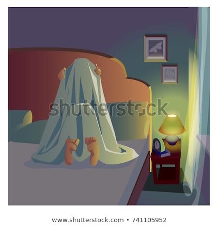 férfi · pléd · félő · félelem · ágy · arc - stock fotó © popaukropa