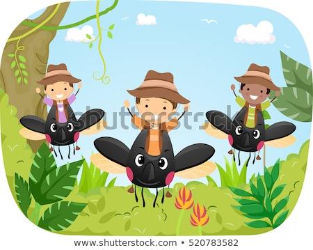 Kinderen tour kever illustratie groep Stockfoto © lenm