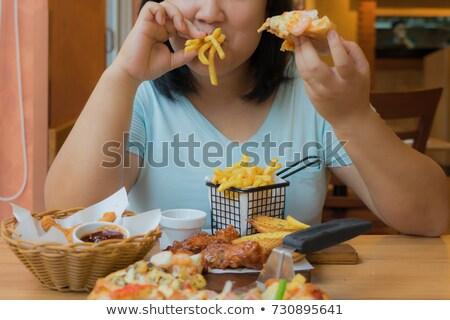 Excesso de peso mulheres alimentos não saudáveis ilustração menina corpo Foto stock © bluering