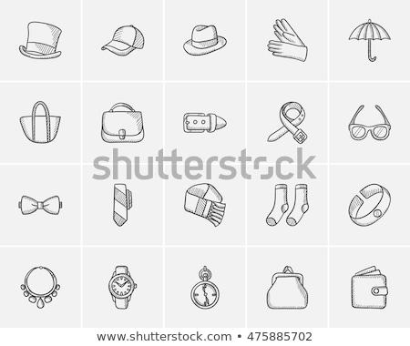 フェドーラ · 帽子 · スケッチ · アイコン · ウェブ · 携帯 - ストックフォト © rastudio