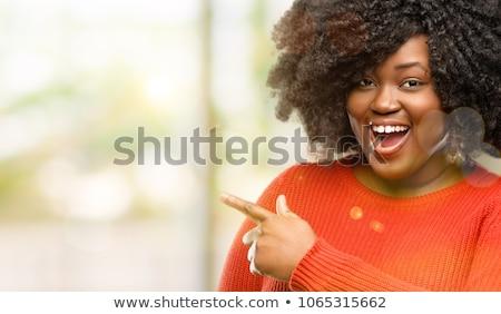 ethniques · jeune · femme · pointant · doigt · enthousiaste · asian - photo stock © deandrobot