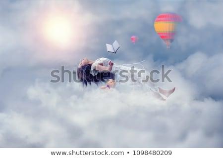 Léggömbök könyvek tutaj égbolt illusztráció színes Stock fotó © lenm