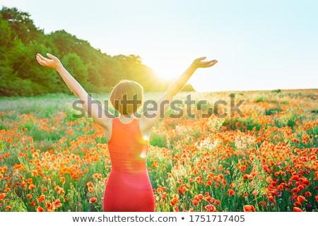 Hátulnézet nő sétál kezek levegő ünnepel Stock fotó © feedough