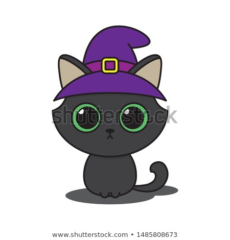 Halloween pumpkin wearing green witch hat Stock photo © TasiPas