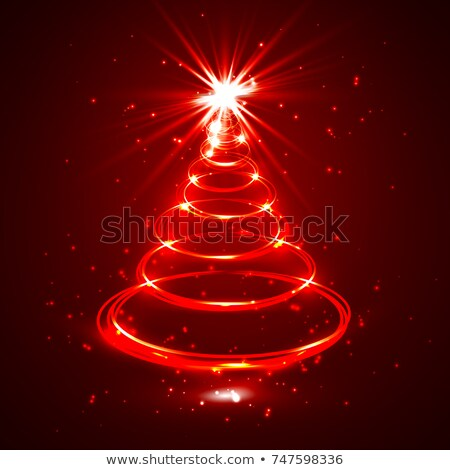 Red glow xmas tree, neon elegant abstract christmas fir, vector illustration Stock photo © olehsvetiukha