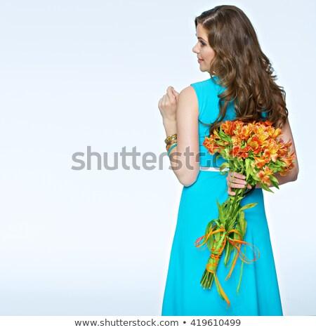 美しい 小さな ブルネット 少女 青 ドレス ストックフォト © Lady-Luck