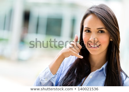 Happy Businesswoman Making Call Me Gesture Stock photo © AndreyPopov