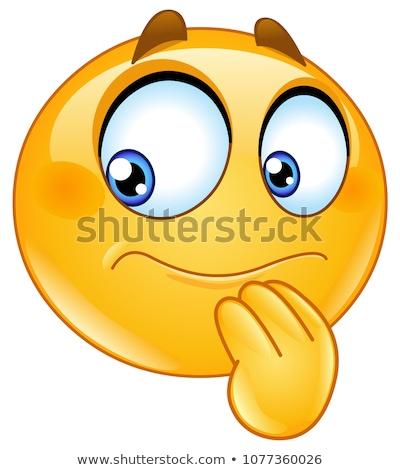 Emoticon incerto mão sorrir olho feliz Foto stock © yayayoyo