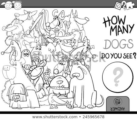 Cartoon perros educativo juego blanco negro ilustración Foto stock © izakowski