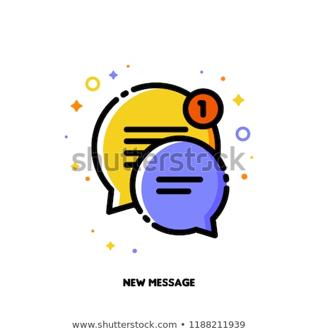 icon of two cute speech bubbles for new message concept flat stock photo © ussr