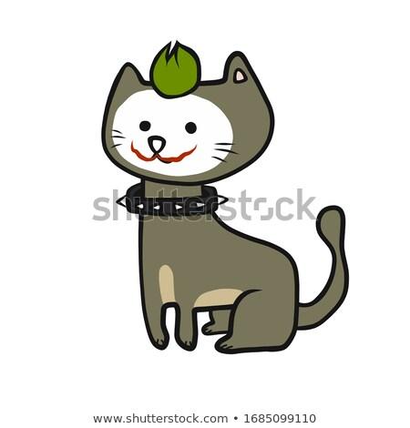 cartoon smiling jester kitten stock photo © cthoman