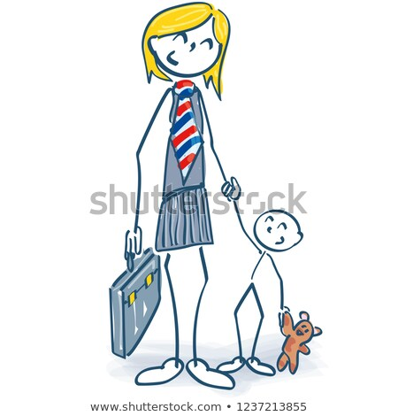 Stick figure as a female manager with child and career Stock photo © Ustofre9