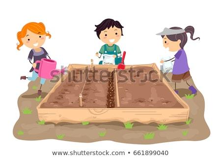 Stickman Kids Straight Rows Sow Illustration Stock photo © lenm