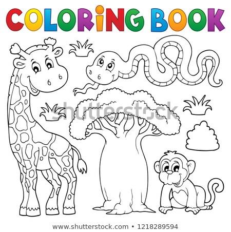 Foto stock: Livro · para · colorir · africano · casa · árvore · livro · natureza