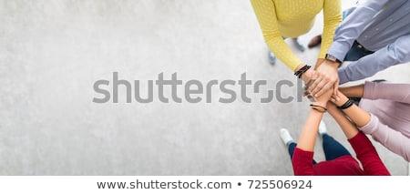 csapatépítés · vektor · négy · kirakós · játék · darabok · téma - stock fotó © jossdiim