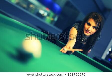Genç kadın oynama bilardo portre güzel spor Stok fotoğraf © Kzenon