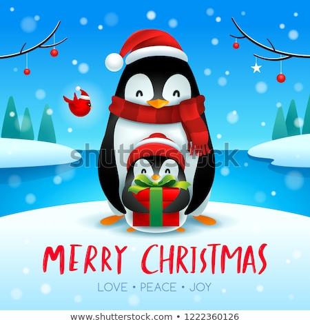 Сток-фото: взрослый · пингвин · ребенка · Рождества · снега · сцена