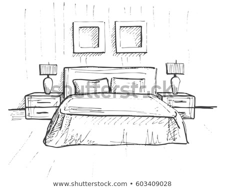 Hand drawn sketch. Linear sketch of an interior. Sketch Line bed Stock photo © Arkadivna