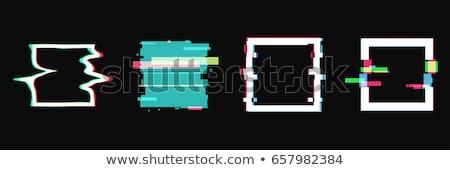 Glitch distortion frame. Vector square illustration on black Stock photo © m_pavlov