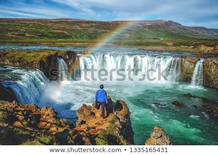 Vízesés szivárvány Izland egy vízesések természetes Stock fotó © Kotenko