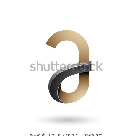 Black and Beige Bold Curvy Letter A Vector Illustration Stock photo © cidepix