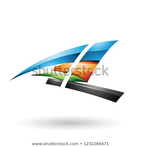 Blauw oranje dynamisch glanzend vliegen letter l Stockfoto © cidepix