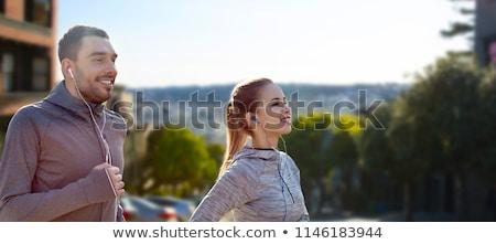 Paar lopen San Francisco fitness sport Stockfoto © dolgachov