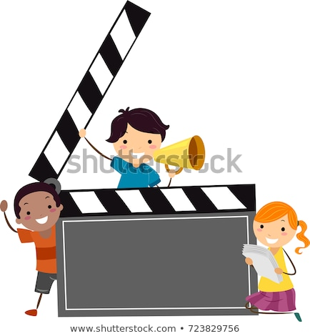 Stickman Kids Clapper Board Illustration Stock photo © lenm
