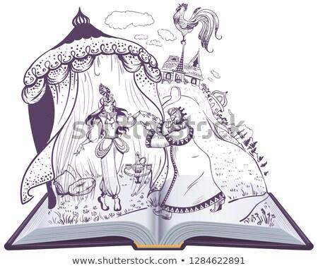 Tündérmese arany nyitott könyv illusztráció vektor rajz Stock fotó © orensila
