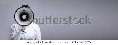 Homem anúncio megafone feliz homem maduro quadro-negro Foto stock © AndreyPopov