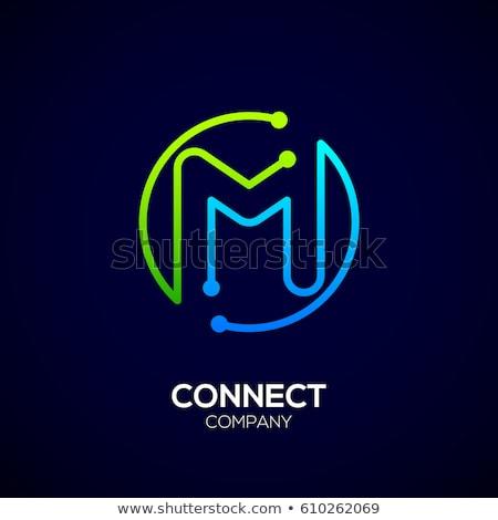 M betű zöld ikon kör felirat logo Stock fotó © blaskorizov