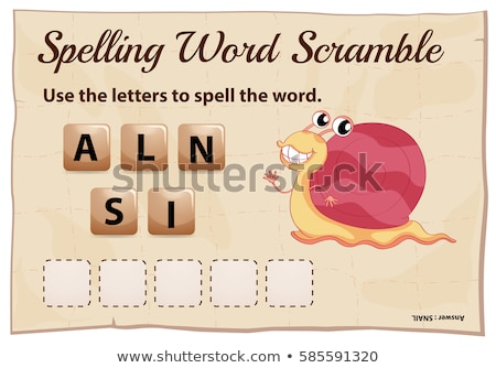 spelling word scramble game template for snail stock photo © colematt