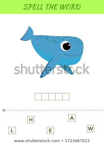 Spelling word scramble game template for whale Stock photo © colematt