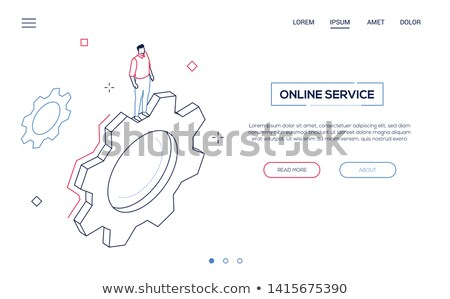Stock photo: Computer service - modern line design style banner