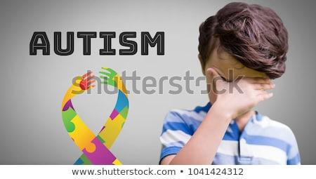 3D quebra-cabeça padrão fita autismo consciência Foto stock © nasirkhan