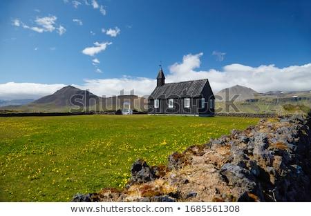Stockfoto: Zwarte · kerk · dorp · IJsland · religieuze · toeristische · attractie