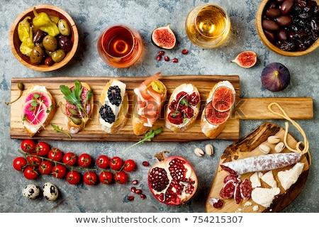Foto stock: Brushetta Or Spanish Tapas Set With Wine