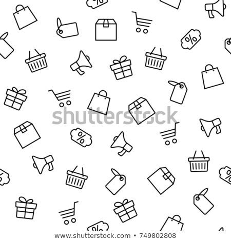 Black friday prix tag panier coffret cadeau vecteur Photo stock © robuart