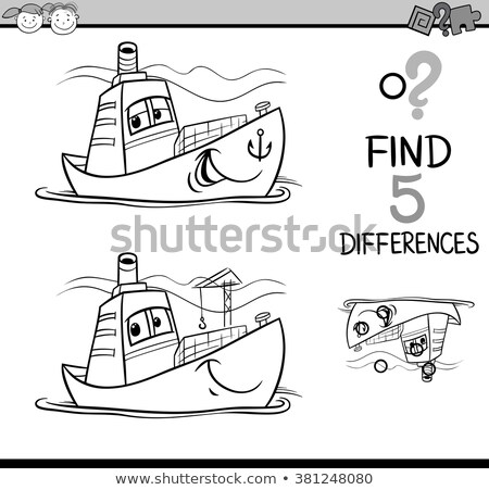 Farklılıklar konteyner gemisi renk kitap siyah beyaz karikatür Stok fotoğraf © izakowski