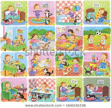 dog and kitten characters cartoon color book Stock photo © izakowski