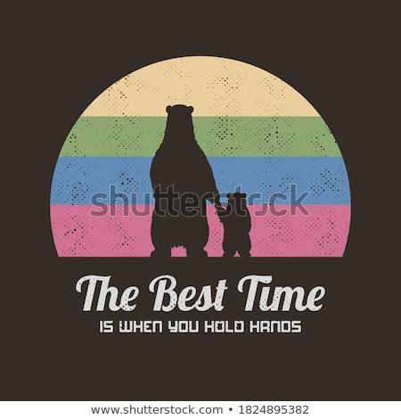 Braunbär paw drucken Kreis Label Design Stock foto © hittoon