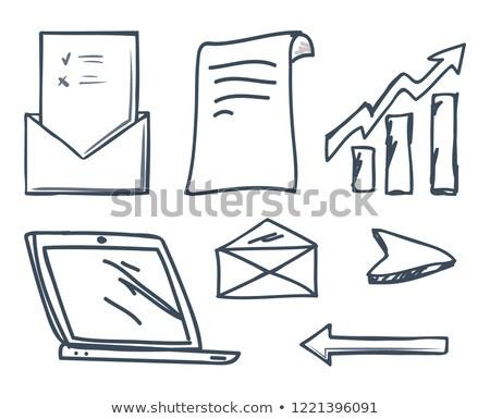Office Laptop and Increasing Raising Arrow Vector Stock photo © robuart