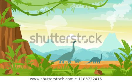 Prehistoric wildlife. Nature landscape with dinos, mountains, volcanos stock photo © Natali_Brill