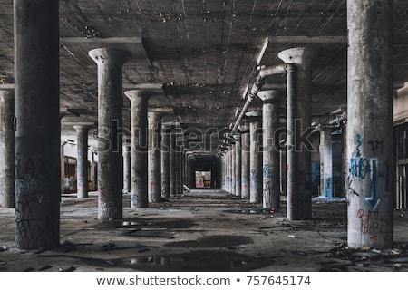 Opuszczony fabryki starych refleksji wody budynku Zdjęcia stock © 5xinc