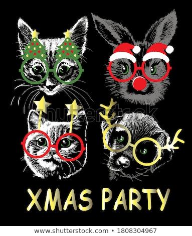 Karácsony rajzolt állatok aranyos macska nyuszi kalligráfia Stock fotó © robuart