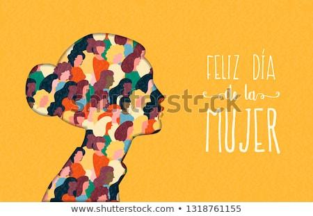 Happy Womens Day woman head card in spanish Stock photo © cienpies