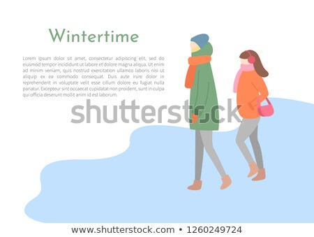 Going Man and Woman in Wintertime Vector Side View Stock photo © robuart