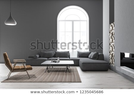 gray color living room interior design with floor lamp and armch stock photo © dashapetrenko