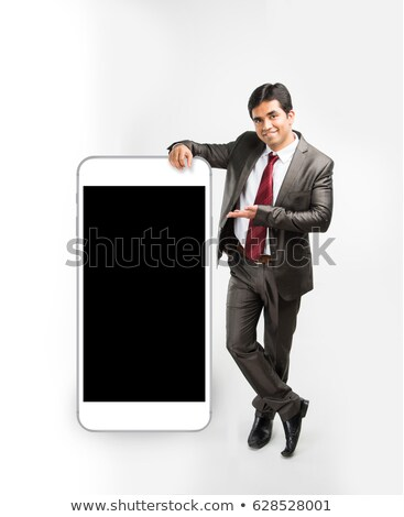 african businessman and smartphone with big screen isolate on white background Stock photo © studiostoks
